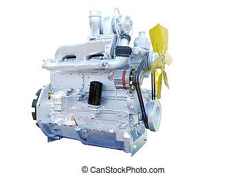 柴油機發動機, 被隔离, 白色
