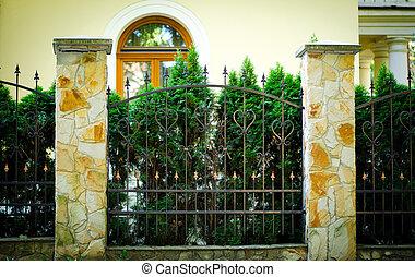 柵欄, 房子, 樹, 綠色, 黃色, 正面