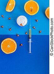 根本, 臉, 化妝品, 背景。, 芳香, ingredient., 奶油, 關心, c, 維生素, 水果, 多汁, 油, medicine., skincare, 自然的美麗, 橙, therapy., 新鮮, 藍色, 選擇, 柑橘屬, 血清