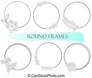 框架, 优美, 輪, vector., leaves., 舞台裝飾, elements., 簡單, 集合, 花