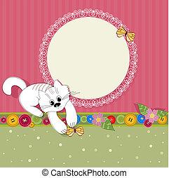 框架, 好, 設計, 小貓