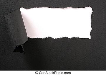 框架, 撕破紙張, 黑色的背景, 剝去, 白色