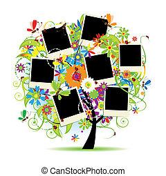 框架, 樹, album., 你, 植物, 家庭, photos.