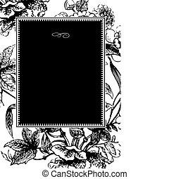 框架, 矢量, 黑色, 花