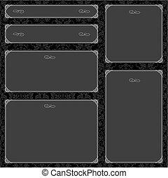 框架, 矢量, 黑色, 集合