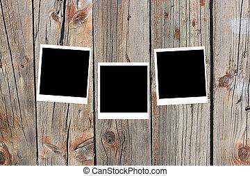 框架, 老, 木頭, 偏光板, 集合, 三, 躺, 表面, 空白