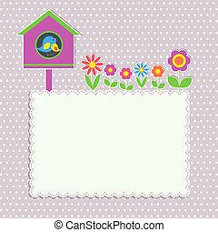框架, 花, 鳥, 家庭, birdhouse