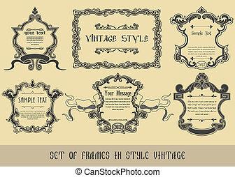 框架, 葡萄酒, 風格, 集合