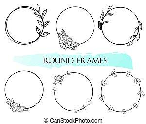 框架, 輪, vector., frames., leaves., 圓, minimalistic, 簡單, 集合, 花
