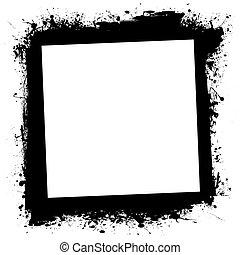 框架, grunge, splat, 墨水