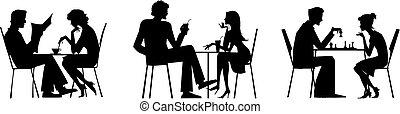 桌子, 夫婦, 黑色半面畫像
