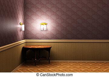 桌子, 房間, 3d