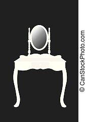 桌子, 白色, 穿著, 黑色半面畫像, 鏡子