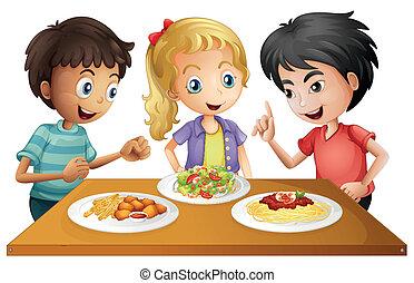 桌子, 食物, 孩子, 觀看