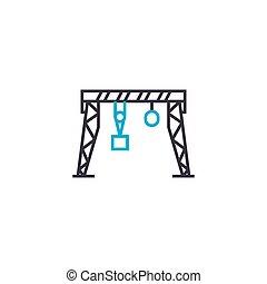 桶架, 線性, 簽署, concept., 符號, 矢量, 起重機, 圖象, 線, illustration.