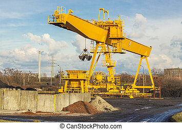 桶架, crane., 黃色