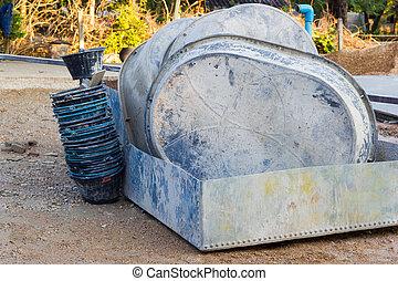 桶, 以後, photo., salvers, 站點, 建設, 使用, 水平