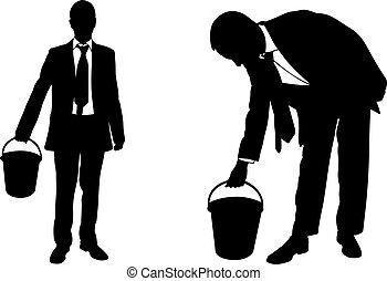 桶, 黑色半面畫像, 商人