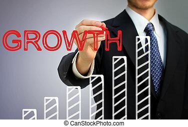 條形圖, 在上方, 寫, 成長, 商人