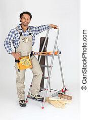 梯子, 站, 木匠