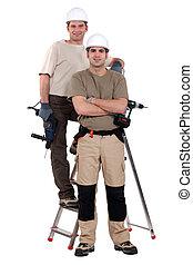 梯子, 站, 電工, 二