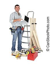 梯子, 膝上型, 站, 木匠