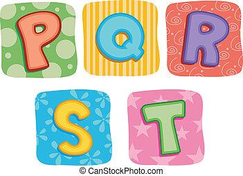 棉被, 字母表, q, p, s, r, t, 信