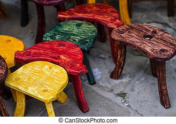 椅子, 時裝, 老, 上色, 市場