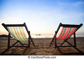 椅子, 海灘, 海, coast.