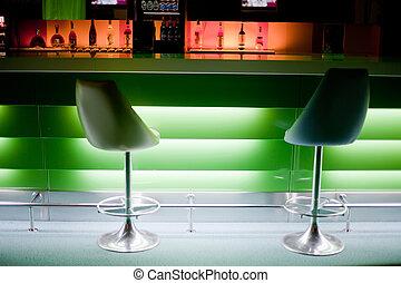 椅子, 瓶子, 光, 行, 綠色, 酒吧