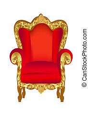 椅子, 老, 紅色, 金
