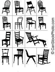 椅子, silhouettes., 集合, 大, 家