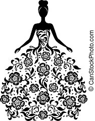 植物的服裝, 女孩, 裝飾品, 黑色半面畫像