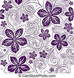 植物的模式, seamless, white-violet