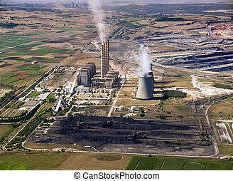 植物, 堆, 空中, 力量, &, 煤炭