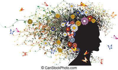 植物, 女孩, 黑色半面畫像