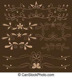植物, 布朗, 裝置設計, 元素
