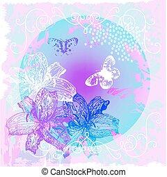 植物, 摘要, 花, 蝴蝶, 背景