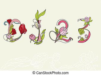 植物, 數字, font., 1