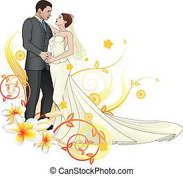 植物, 新娘, 新郎, 背景, 跳舞