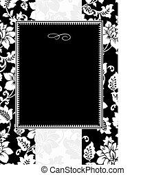 植物, 框架, 矢量, 黑色