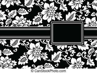 植物, 框架, 矢量, 黑色, 帶子