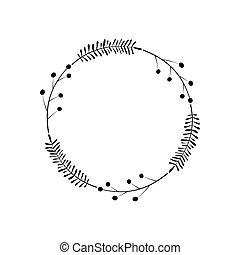 植物, 漂亮, 黑色, 末梢, 漿果, 心不在焉地亂寫亂畫, 喜慶, 邀請, 裝飾, 離開, 雅致, 圖畫, element., 邊框, 矢量, 多刺, circle., wreath., 時髦, frame., 明信片, 標識語, 設計