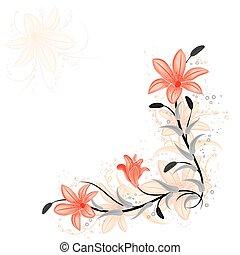 植物, 百合花, 矢量, 設計元素