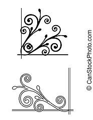 植物, 矢量, corners., 二