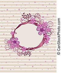 植物, 粉紅色, 框架, 設計, 橢圓形