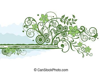 植物, 綠色, 邊框, 元素