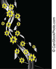 植物, 背景, 黃色, 銀