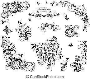 植物, 葡萄酒, 設計, 黑色, 白色
