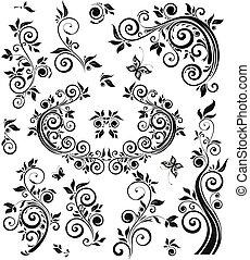 植物, 葡萄酒, 設計, 黑色